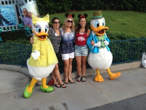 Gail, Melissa & Haily with Daisy & Donald Duck