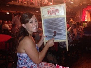 Haily playing an instrument at the Hoop Dee Doo Musical Review
